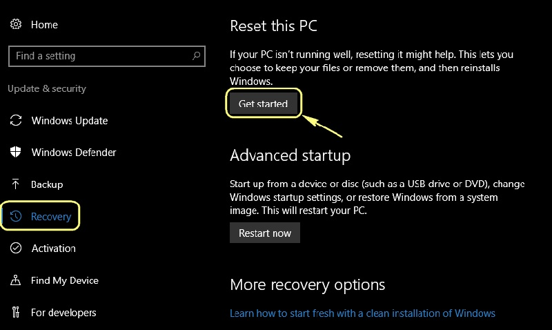 a page showing the option to reset the pc