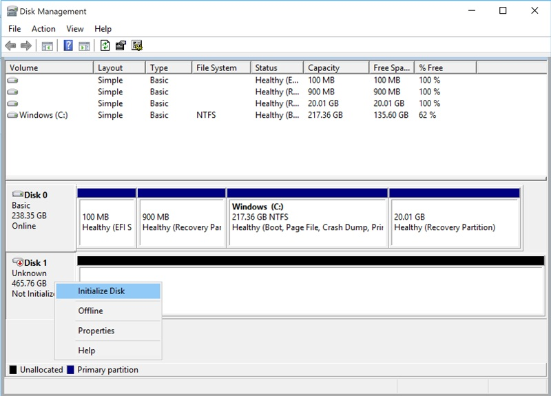 initialize disk option highlighted
