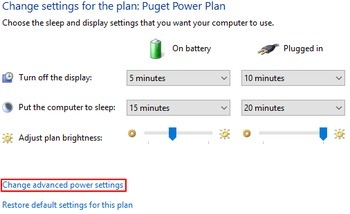 change advanced power settings highlighted