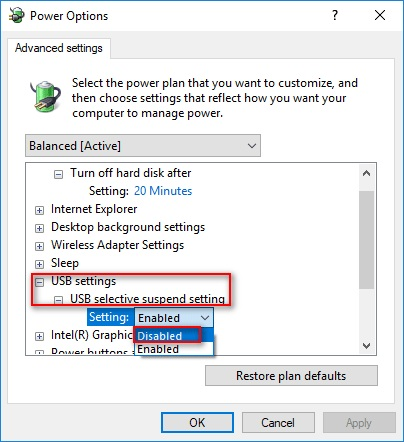 USB selective suspend setting disabled
