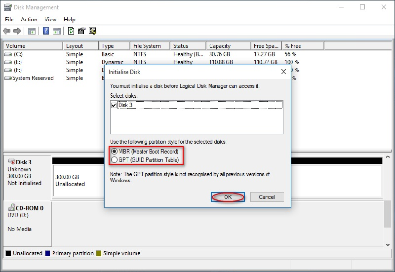 initialize disk options