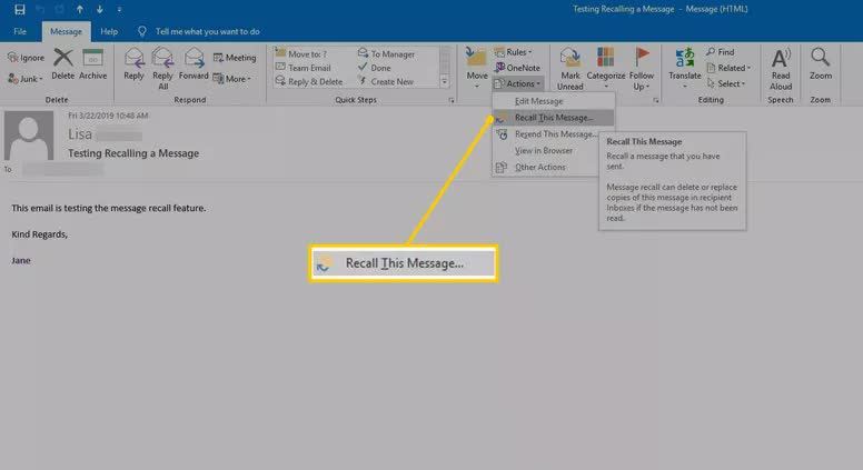 recall email in outlook 2