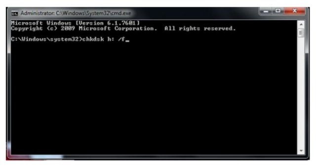 Using chkdsk to fix a corrupted SD card without data loss step 2