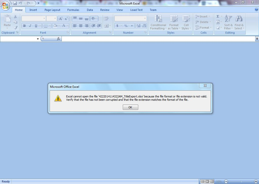 Excel cannot open the file because of the file format