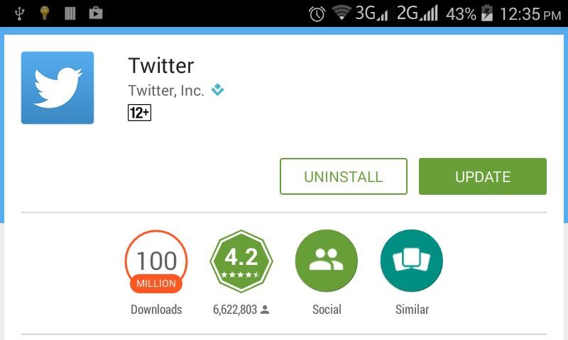 update twitter app