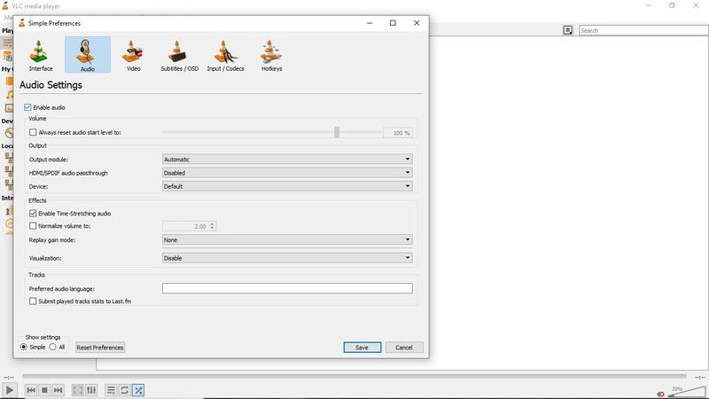 check enable audio