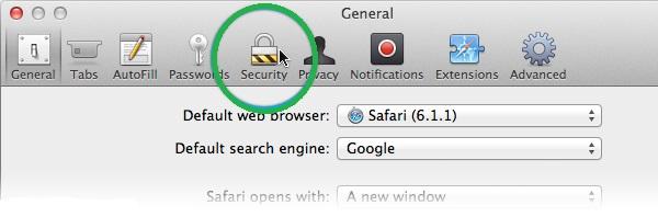 security tab on safari