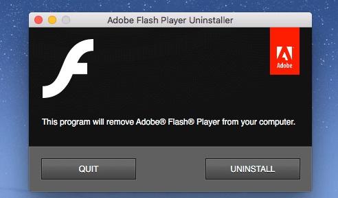 uninstall adobe flash