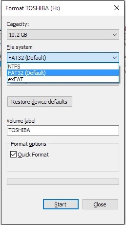 format usb to fat32 1