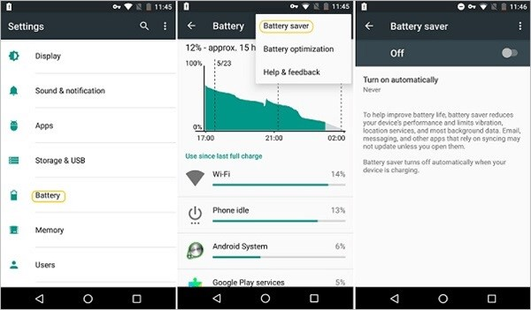 disable android power saving mode