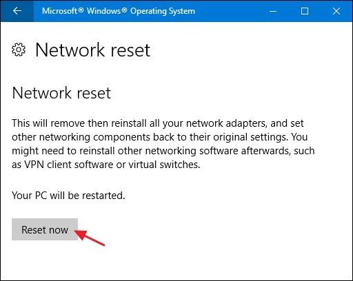 reset network now