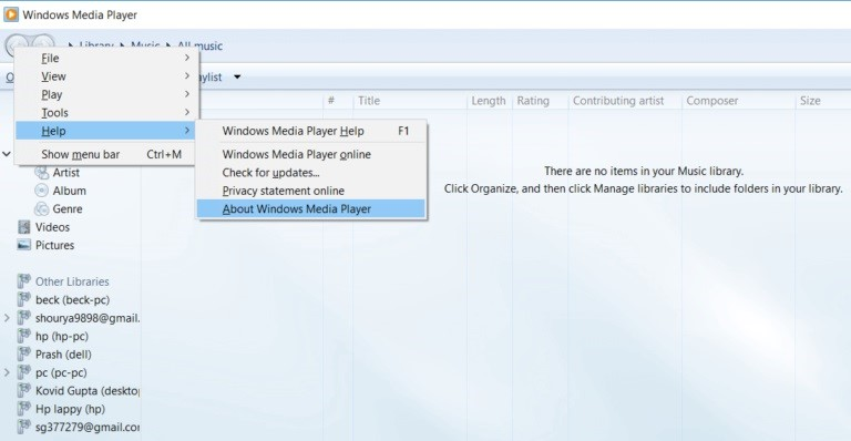 about windows media player
