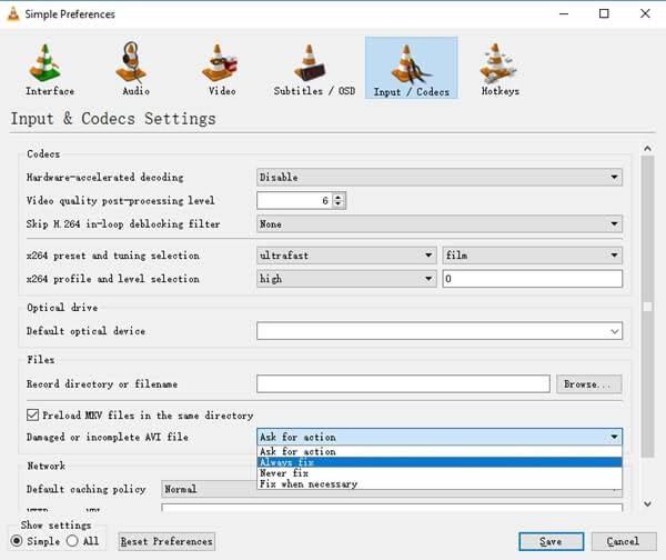 input and codecs settings