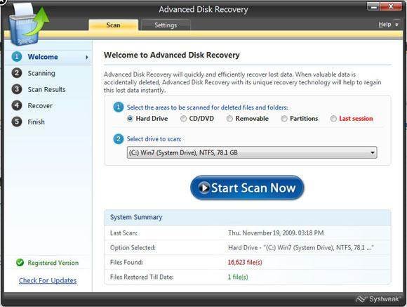 advance disk recovery