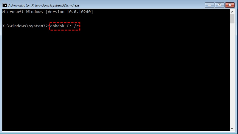 chkdsk from boot