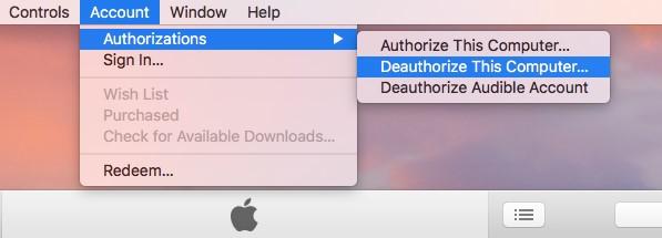 deauthorize itune 1
