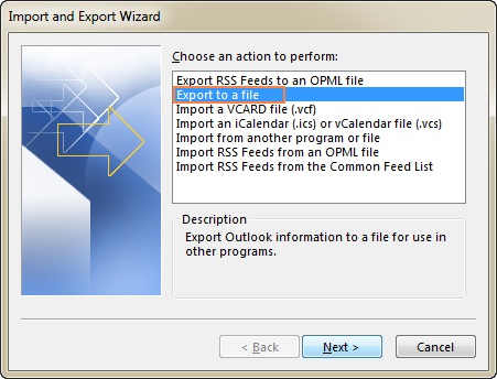 export to a file option highlighted