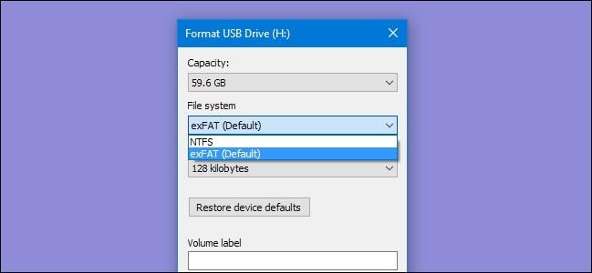 format 128gb usb flash drive to fat32 2