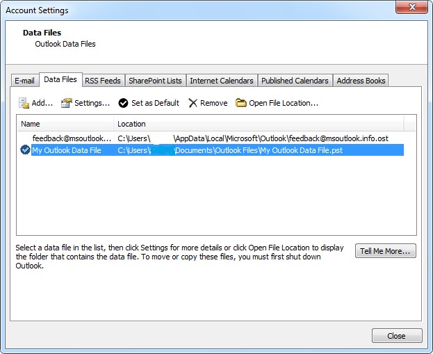 manually export outlook pst ost files 2