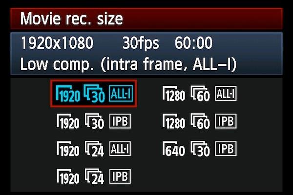movie recording sizes