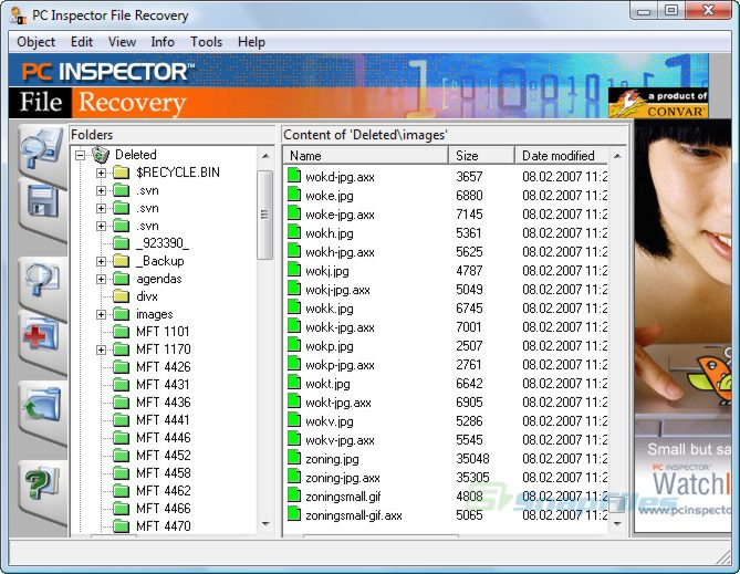 pcinspector file recovery main interface