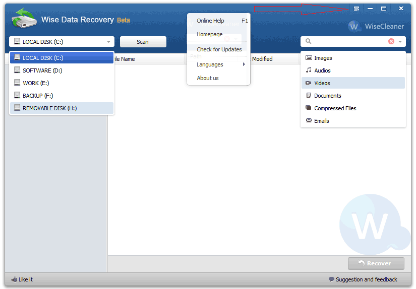 wise data recovery main interface