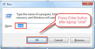 type cmd in dialogue box