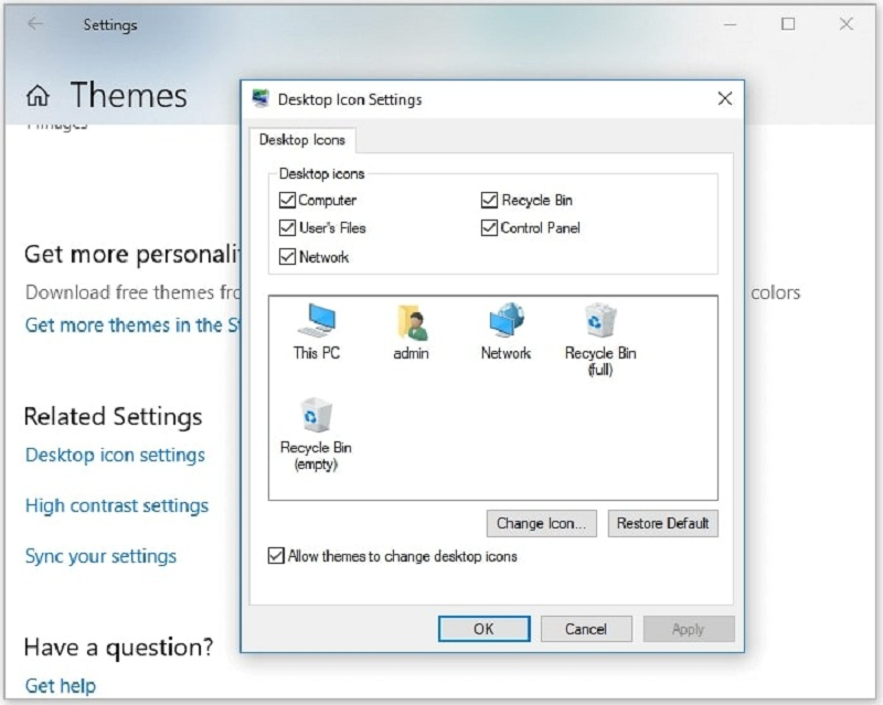 check recycle bin in desktop icon settings