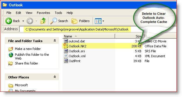delete outlook cache 2