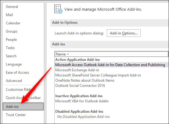 disable outlook add ins 4