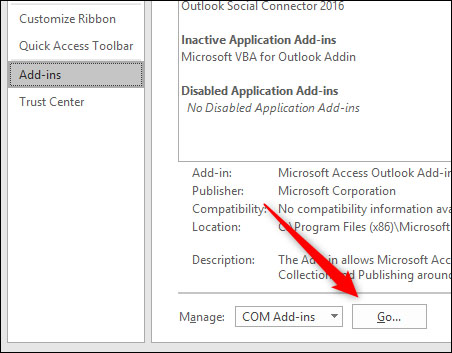 disable outlook add ins 5