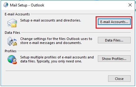 e mail accounts option highlighted