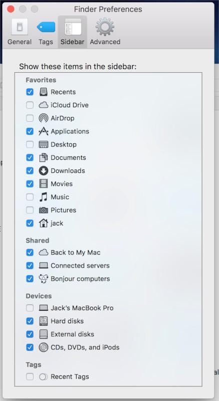 external disk sidebar option