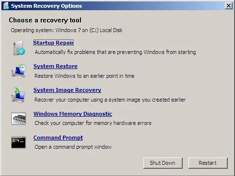 factory reset windows 7 system restore