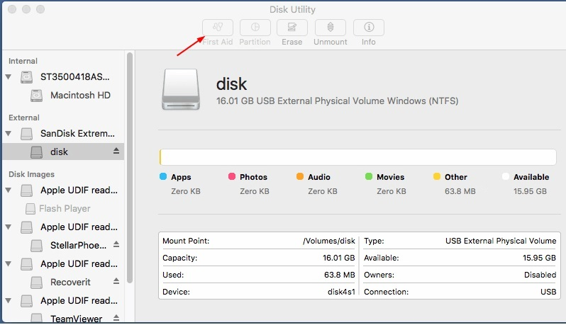 Select the external device and then click on the first-aid function of disk utility