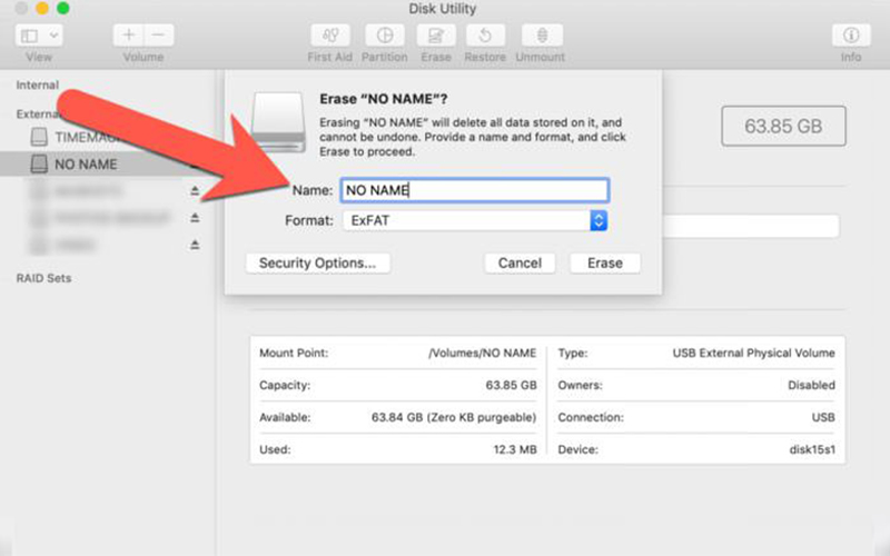 disk utility pointing SD card to format
