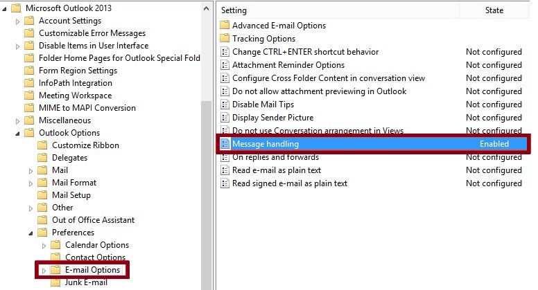 group policy setting outlook 2013