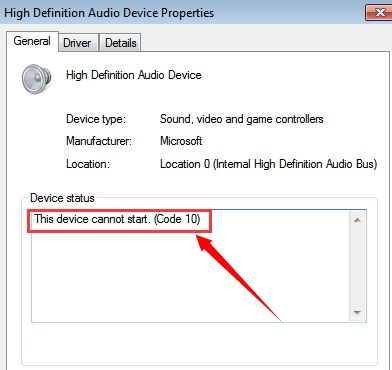 high definition audio device windows error 2