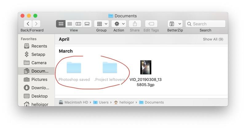 look for hidden files photoshop