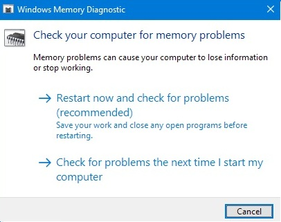 memory management bsod memory diagnostics tool