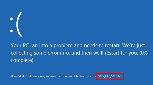 ntfs system error 1