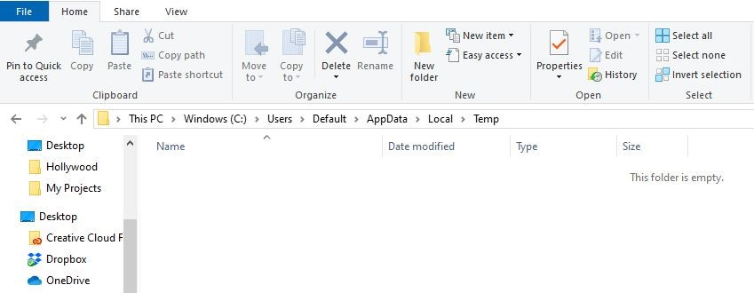 deleting temporary files