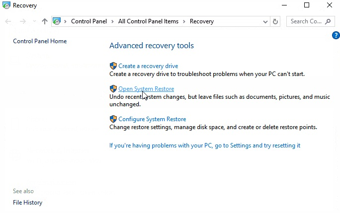 pointer pointing open system restore