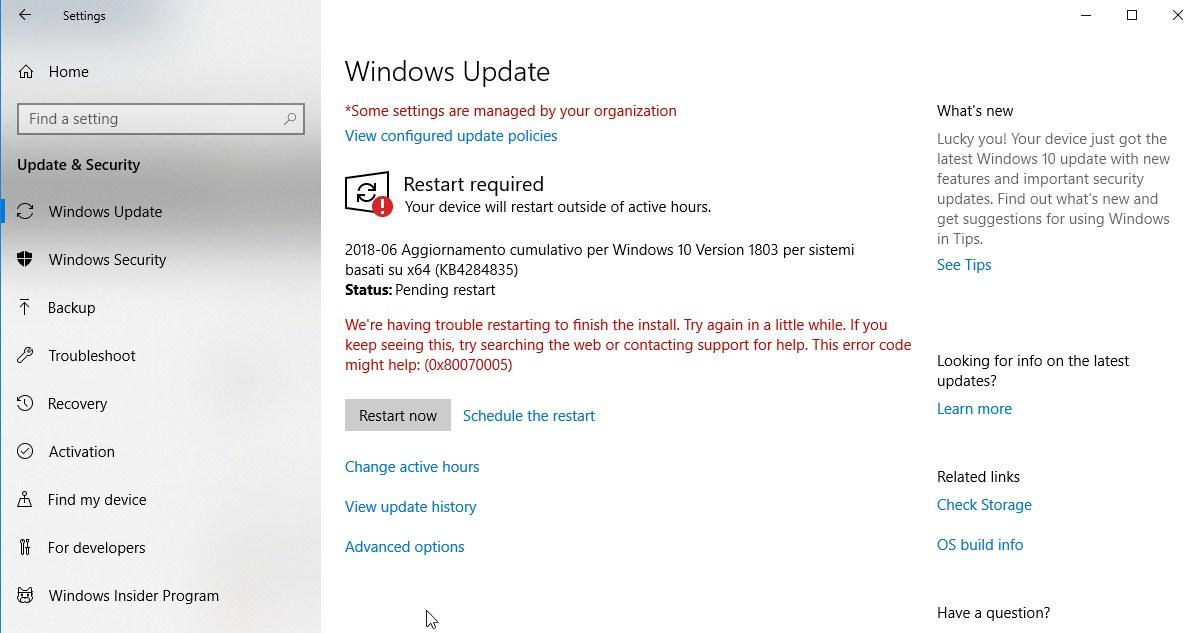restart now after update