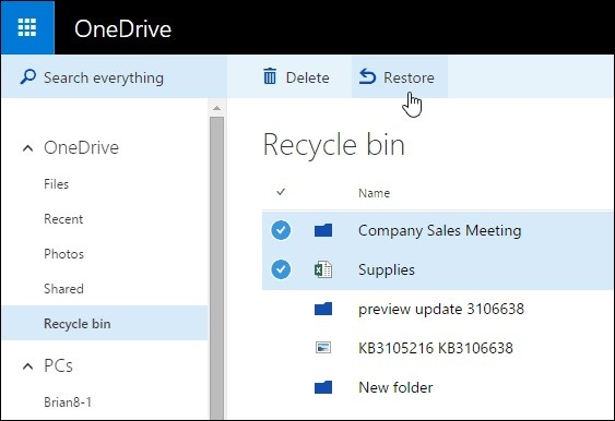 restore on recycle bin 1