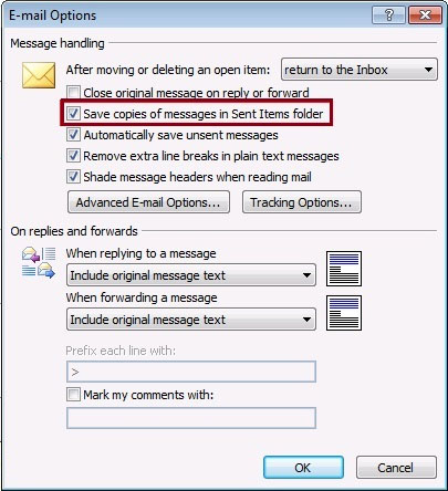 save copies outlook 2007