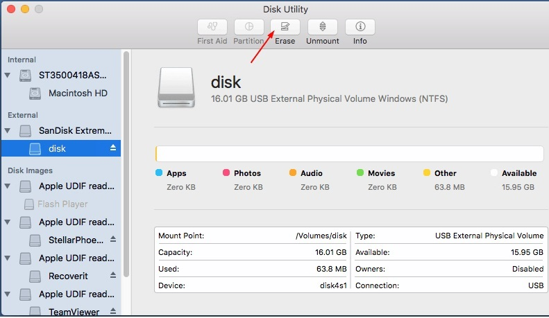 Select the disk from the sidebar and click on erase option in disk utility