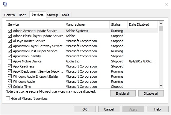 system configuration services tab2
