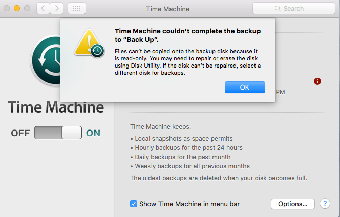 Time Machine backup volume is read-only