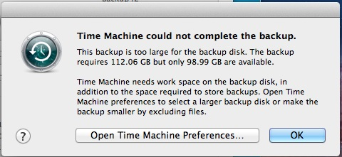 Time Machine won't backup low disk space